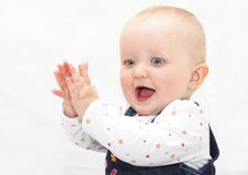 Happy baby. Child against white royalty free stock photography