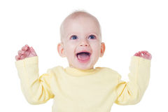 Happy baby. Cute blond baby girl laughing Stock Photo