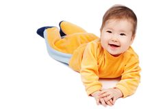 Happy baby. Baby learn to crawl isolated on white Royalty Free Stock Photos