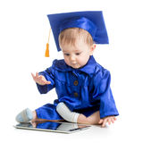 Happy baby in academician clothes with laptop Stock Photos