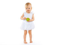 Happy baby and apple. On a white background Stock Photos