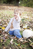 Happy baby in Autumn Royalty Free Stock Image