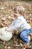 Happy baby in Autumn stock photo