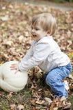 Happy baby in Autumn Stock Photo