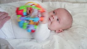 Happy baby on back stock video