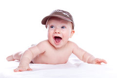 Happy baby in a baseball cap. On white background Stock Images
