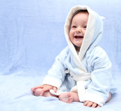 Happy baby after bath Stock Photo