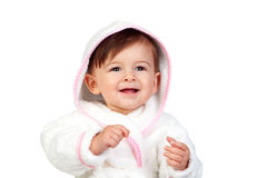 Happy baby with a bathrobe Stock Photography