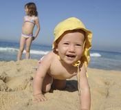 Happy baby on the beach Royalty Free Stock Images