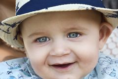 A happy baby blue eyes. The happy baby blue eyes Royalty Free Stock Images
