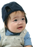 Happy baby boy. With baseball cap, isolated on white background Royalty Free Stock Photos