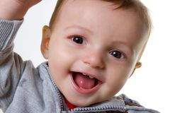 Happy Baby Boy. In sweatshirt studio portraits Royalty Free Stock Image