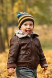 Happy baby boy in autumn leaves royalty free stock photos