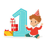 Happy baby boy celebrating his first birthday. Kids birthday party colorful cartoon character vector Illustration. Isolated on a white background Stock Photo