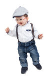 Happy baby boy with eyeglasses, suspenders and hat, isolated Stock Photos