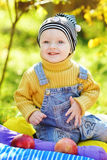 Happy baby boy in fall time Stock Photos