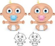 Happy baby. Boy and girl baby cartoon illustration Vector Illustration