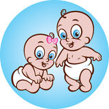 Happy baby boy and girl Royalty Free Stock Images