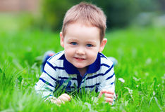 Happy baby boy on green grass in park Royalty Free Stock Photo