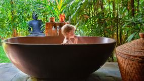Child take bath in outside bathroom with tropical garden view Royalty Free Stock Photography