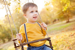 Happy baby boy having fun on a swing ride at a garden a autumn day Stock Image