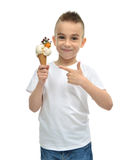 Happy Baby boy holding vanilla ice cream dondurma in waffles con stock images