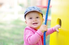 Happy baby boy on playground Stock Photography
