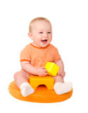 Happy baby boy playing with toy bricks Royalty Free Stock Photography