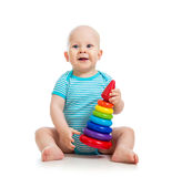 Happy baby boy playing with toy on white. Hapy baby boy playing with colorful toy on white background Stock Photo