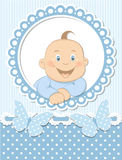 Happy baby boy scrapbook blue frame Stock Photos
