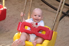 Happy baby boy in swing Stock Image