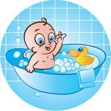 Happy baby boy in tub. Cute baby boy taking a bath in tub stock illustration