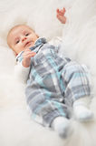 Happy baby boy in white Royalty Free Stock Photography