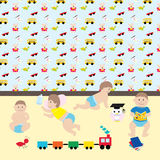 Happy baby boys.  Cute cartoon  little kids and toys in nursery Royalty Free Stock Photo