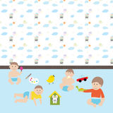 Happy baby boys.  Cute cartoon  little kids and toys in nursery Stock Photography