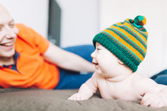 Happy baby with cap Royalty Free Stock Images
