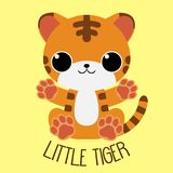 Happy baby cartoon tiger sitting arms open. With `little tiger` text on yellow background. For baby clothes, toys, books Royalty Free Stock Image