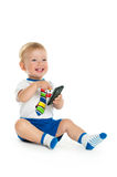 Happy baby with cell phone Stock Image
