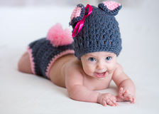 Happy baby child in costume a rabbit bunny Royalty Free Stock Image