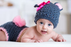 Happy baby child in costume a rabbit bunny Stock Images
