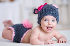 Happy baby child in costume a rabbit bunny Royalty Free Stock Images