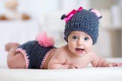Happy baby child in costume a rabbit bunny stock photo