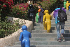 Happy baby and child statue in the Shenzhen International Garden and Flower Expo Park Stock Photos