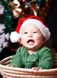 Happy baby at christmas eve Royalty Free Stock Photo
