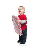 Happy Baby with Christmas Gift Royalty Free Stock Photography