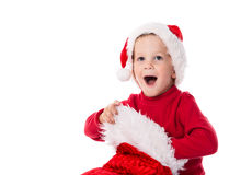 Happy baby with Christmas stocking Stock Image