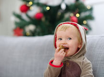 Happy baby in Christmas suit eating cookie Royalty Free Stock Photo
