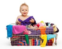 Happy baby with clothes Royalty Free Stock Images