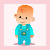 Happy baby clothes stands and smiles. Calm boy stock illustration