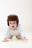 Happy baby crawling royalty free stock images